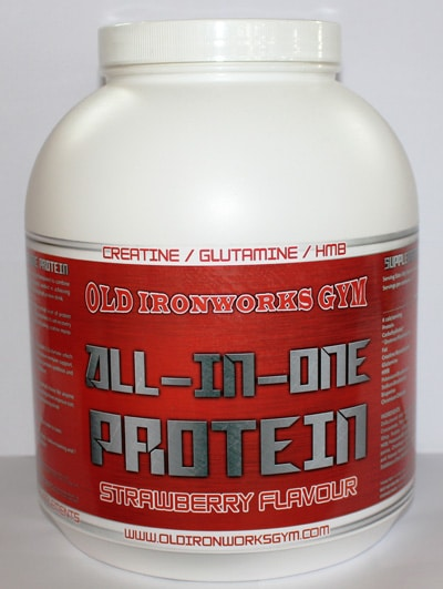 old ironworks gym all in one strawberry protein